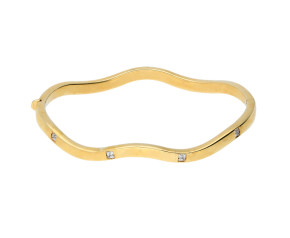 Pre-Owned Gold Wave Hinged Bangle