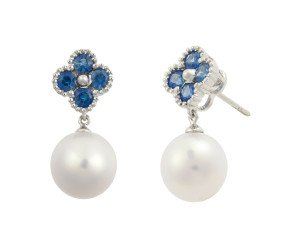 Limited Edition 18ct White Gold 1ct Sapphire & 9.5mms Freshwater Pearl Drop Earrings