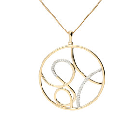 9ct Yellow Gold Diamond Contemporary Pendant