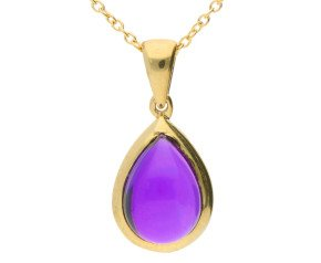 9ct Yellow Gold Cabochon Amethyst Pendant