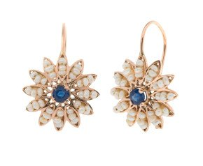 Handcrafted Italian Sapphire & Seed Pearl Flower Drop Earrings