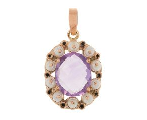 Handcrafted Italian Amethyst & Seed Pearl Pendant