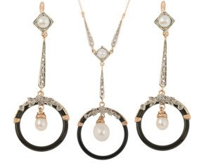 Handcrafted Italian Art Deco Inspired Pearl Diamond & Onyx Pendant & Drop Earrings Jewellery Set