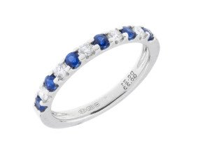 18ct White Gold 0.33ct Sapphire & Diamond Half Eternity Ring