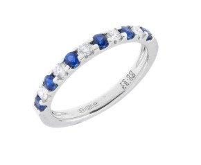 18ct White Gold 0.33ct Sapphire & Diamond Half Eternity Ring