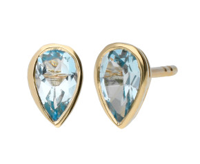 9ct Yellow Gold 5mm Aquamarine Solitaire Pear Shape Stud Earrings