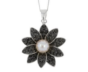 Sterling Silver Akoya Pearl & Gem-Set Flower Pendant