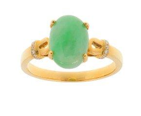 18ct Yellow Gold Jade & Diamond Dress Ring