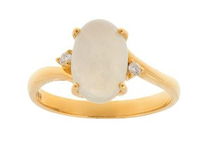 18ct Yellow Gold Lilac Jade & Diamond Dress Ring