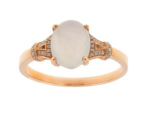 18ct Rose Gold Lilac Jade & Diamond Dress Ring