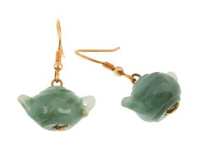 9ct Yellow Gold Fancy Jadeite Drop Earrings