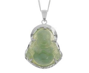 Sterling Silver Smiling Buddha Jadeite Pendant
