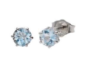 9ct White Gold 0.35ct Round Aquamarine Stud Earrings