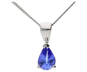 9ct White Gold 0.70ct Tanzanite Solitaire Pendant