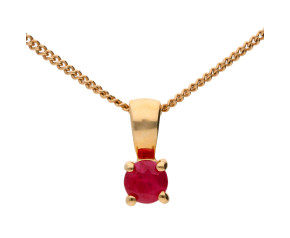 9ct Yellow Gold 0.10ct Round Ruby Solitaire Pendant