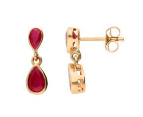 9ct Gold 1.38ct Ruby Double Drop Earrings