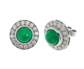 18ct White Gold 4.19cts Emerald & 1ct Diamond Cluster Earrings