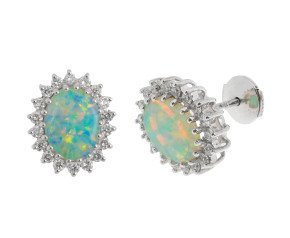 18ct White Gold 1.68ct Opal & 0.55ct Diamond Cluster Stud Earrings