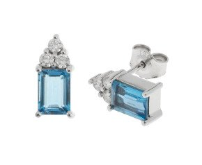 18ct White Gold 1.70ct Aquamarine & 0.30ct Diamond Earrings