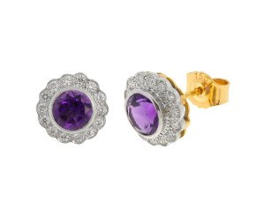 18ct Gold 2cts Amethyst & 0.42ct Diamond Cluster Stud Earrings
