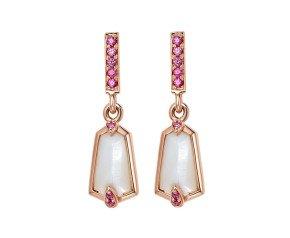 18ct Rose Gold 2ct Mother Of Pearl & 0.10ct Pink Sapphire Medium Nova Drop Earrings