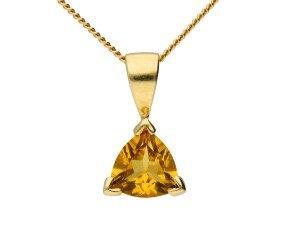 9ct Yellow Gold Trillion Cut Citrine Pendant