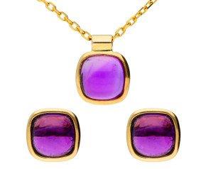9ct White Gold Amethyst Earrings & Pendant Jewellery Set