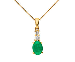 9ct Yellow Gold 7mm Emerald & Diamond Oval Shape Pendant
