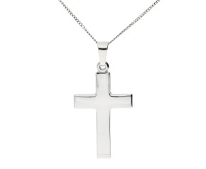 9ct White Gold Cross Pendant