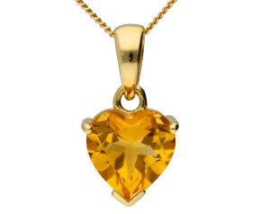 9ct Yellow Gold Citrine Heart Solitaire Pendant