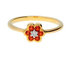 9ct Yellow Gold Garnet & Diamond Cluster Ring