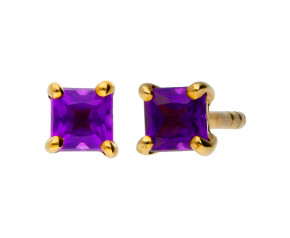 9ct Yellow Gold 0.30ct Square Amethyst Solitaire Stud Earrings