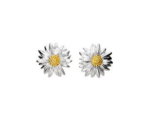 Silver & Yellow Gold Vermeil Marigold Flower Stud Earrings