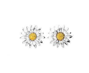 Silver & Yellow Gold Daisy Flower Stud Earrings