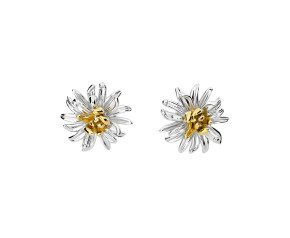 Silver & Yellow Gold Vermeil Chrysanthemum Flower Stud Earrings