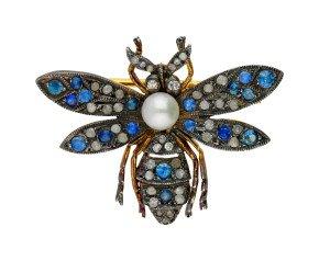 Sapphire, Diamond & Pearl Bee Brooch