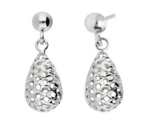 9ct White Gold Pierced Drop Earrings