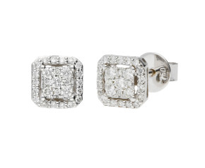 18ct White Gold 0.22ct Diamond Cluster Earrings