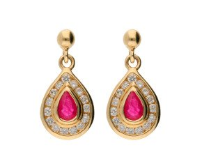 9ct Yellow Gold 0.15ct Ruby & 0.15ct Diamond Drop Earrings