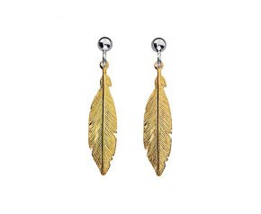 Sterling Silver & Yellow Gold Plated Feather Earrings