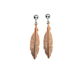 Sterling Silver & Rose Gold Plated Feather Earrings