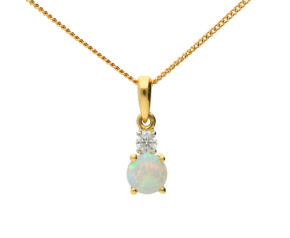 9ct Yellow Gold Opal & Diamond Pendant