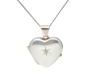 Silver Diamond Accent Heart Locket