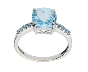 9ct White Gold Swiss Blue Topaz Cocktail Ring