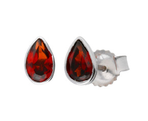 9ct White Gold 0.40ct Pear Garnet Rub Over Solitaire Stud Earrings