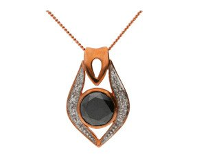 Pre-owned 9ct Rose Gold 1.85ct Black Diamond Fancy Pendant