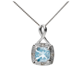 9ct White Gold Aquamarine & Diamond Pendant