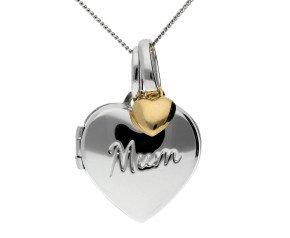 Sterling Silver Mum Heart Locket & Gold Charm