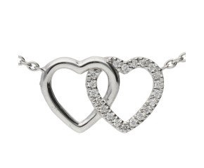 18ct White Gold Diamond Double Heart Necklace