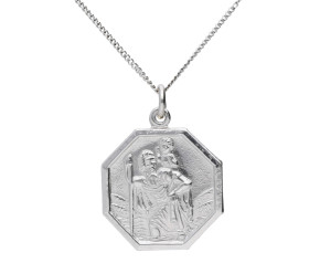 9ct White Gold St Christopher Pendant
